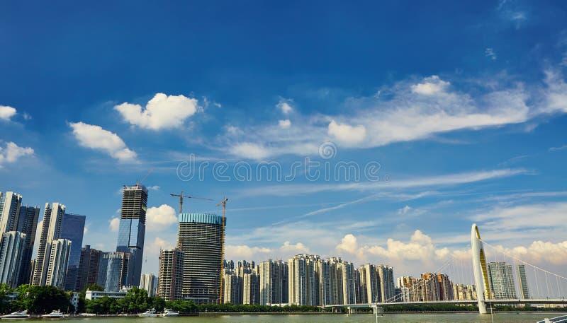 Skyline moderna China da opinião da cidade de Guangzhou imagens de stock royalty free