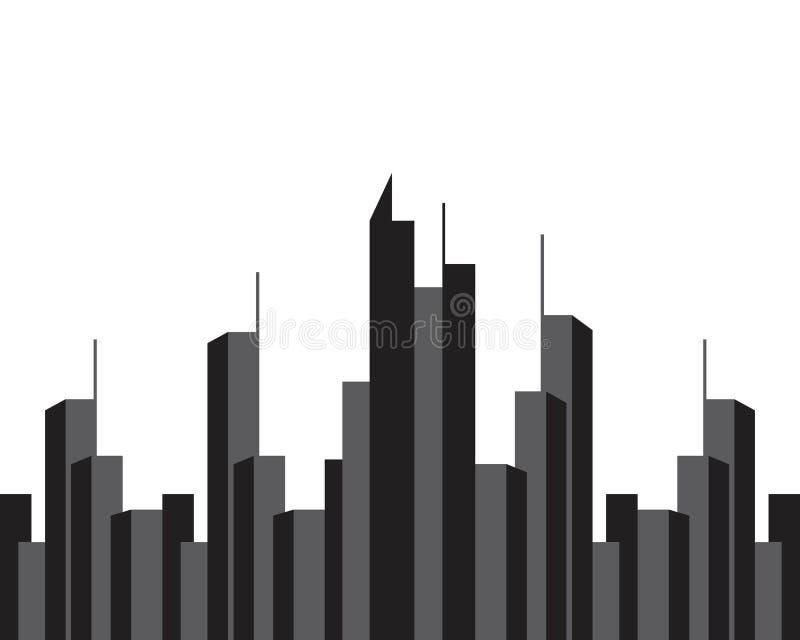 Skyline moderna da cidade Silhueta da cidade Ilustra??o do vetor no projeto liso ilustração royalty free