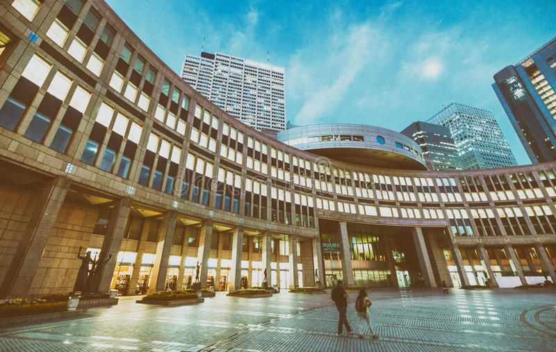 Skyline moderna da noite de Shinjuku, Tóquio - Japão imagem de stock royalty free