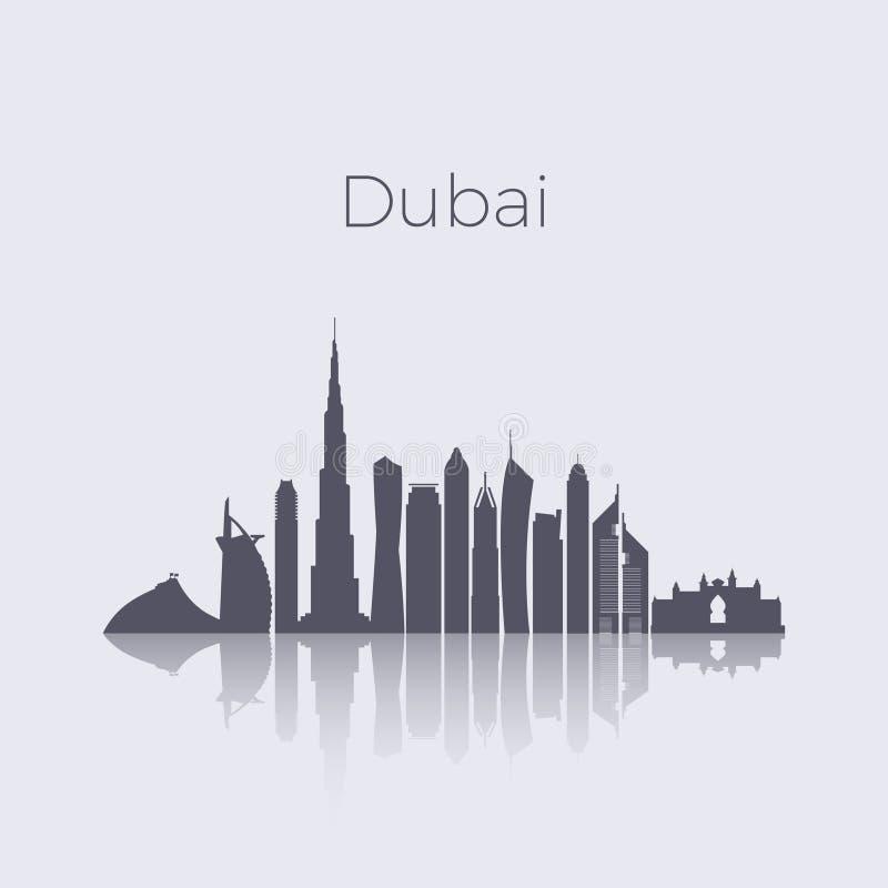 Skyline moderna do vetor da silhueta das construções da cidade de Dubai Arquitetura da cidade do marco dos emirados dos Uae ilustração stock