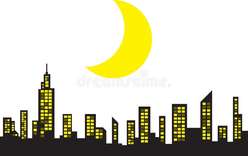 Skyline With Moon Stock Photo