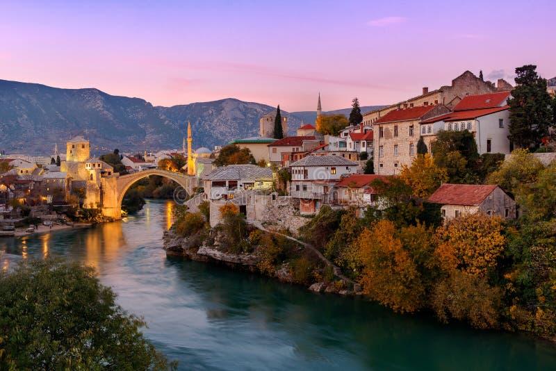 Skyline of Mostar with the Mostar Bridge, Bosnia and Herzegovina royalty free stock photos