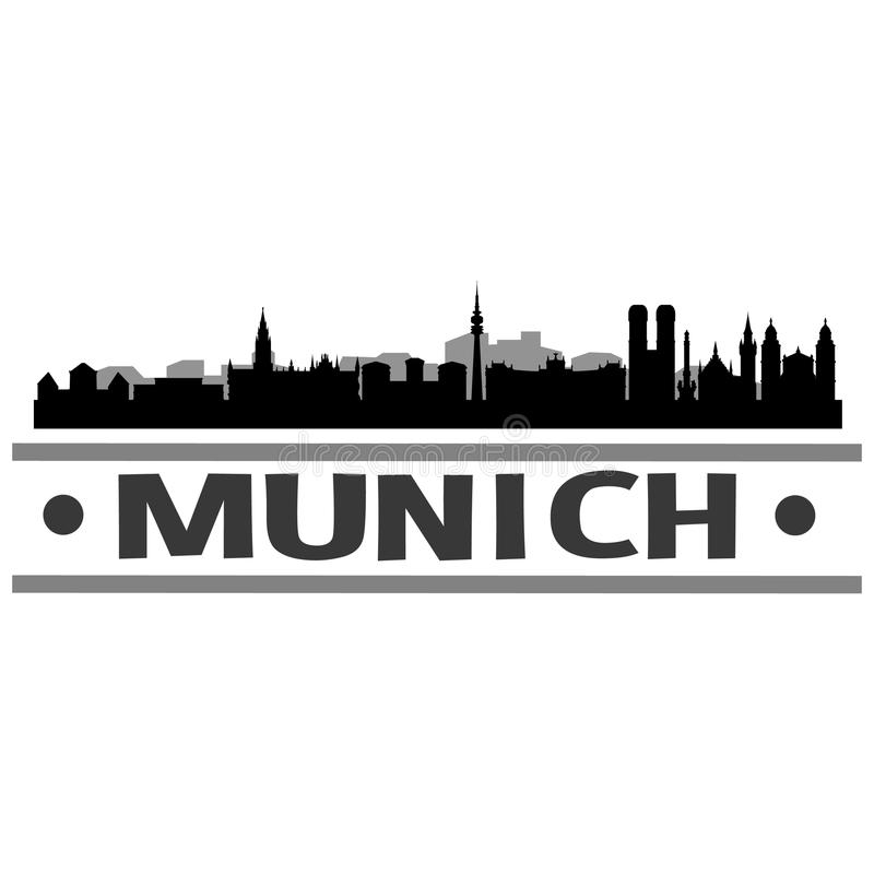 Munich Skyline City Icon Vector Art Design. A skyline of Munich with emblematic buildings vector illustration