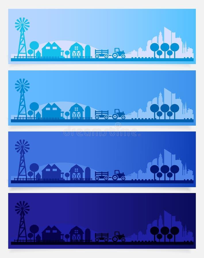 A skyline na moda da exploração agrícola, da vila ou da cidade pequena coloriu grupos na hora diferente do dia Ilustração do veto ilustração royalty free