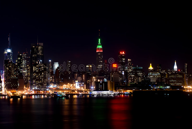 Download Skyline Of New York City At Night Stock Image - Image: 7747185