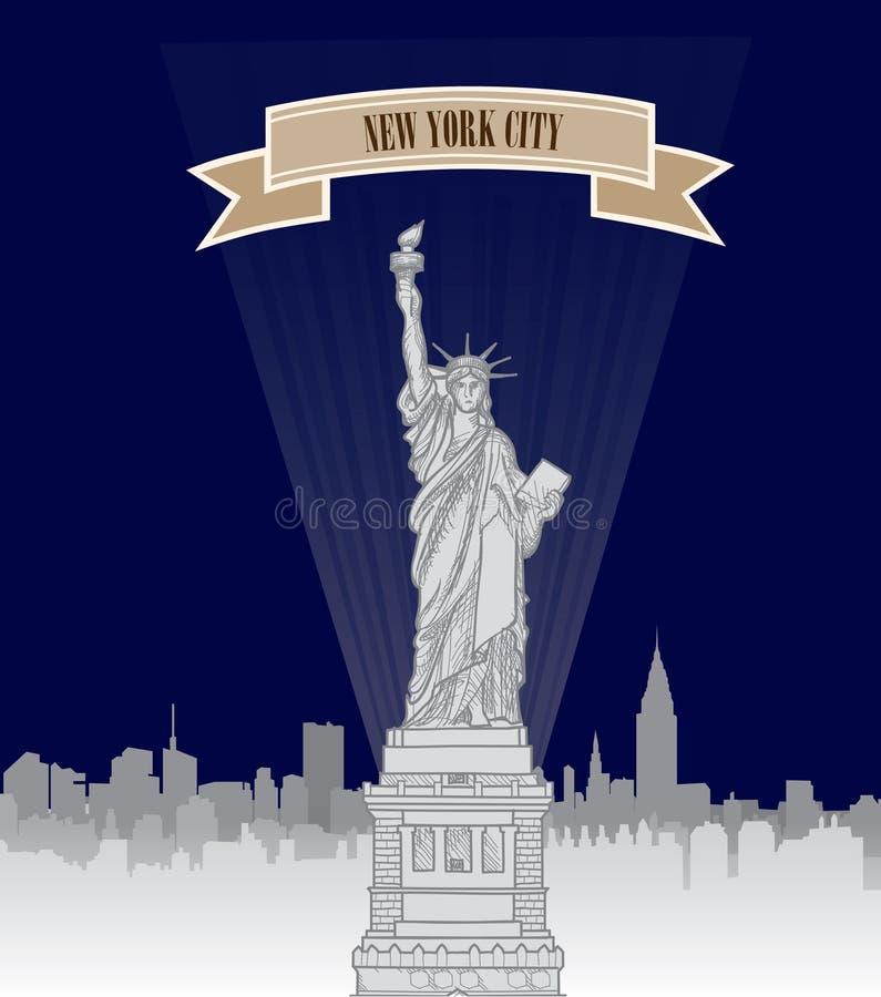 Skyline New York, USA NYC-Stadtschattenbild mit Freiheitsmonument stock abbildung
