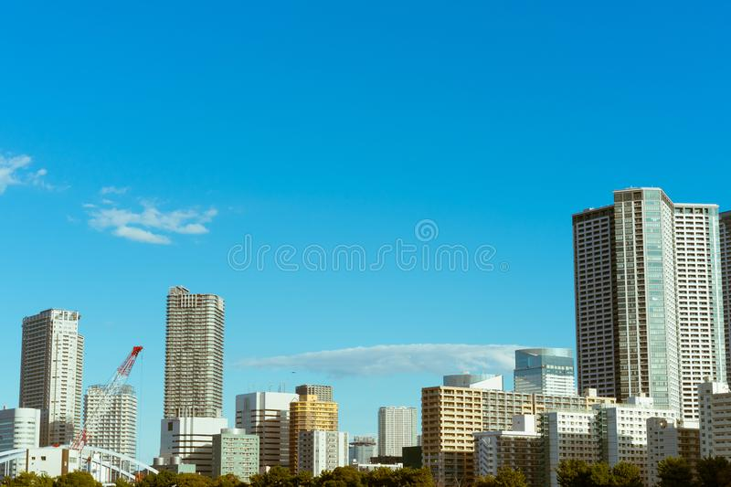 Skyline of newly constructed buildings in Tokyo, Japan royalty free stock images
