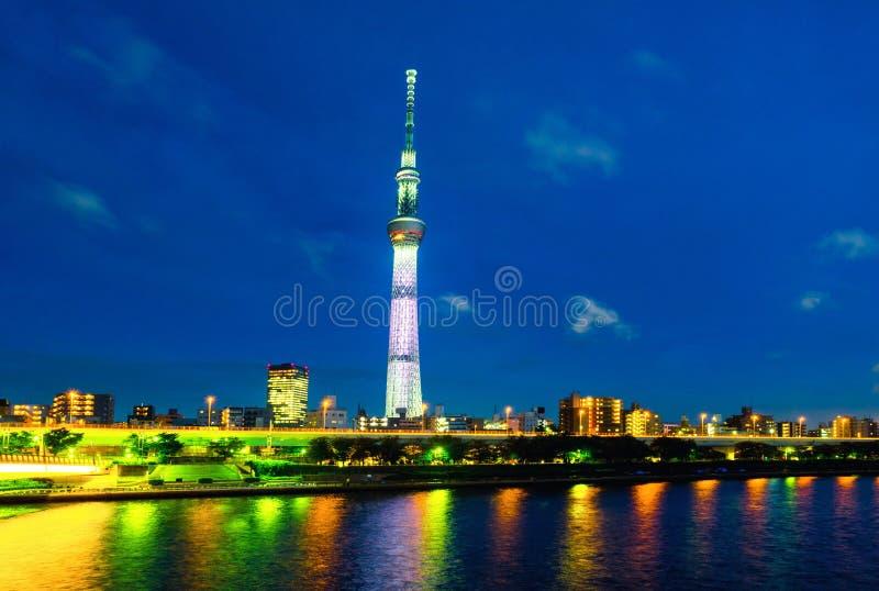 Skyline in the night, cloudy sky over urban area in Sumida, Tokyo, Japan stock photo
