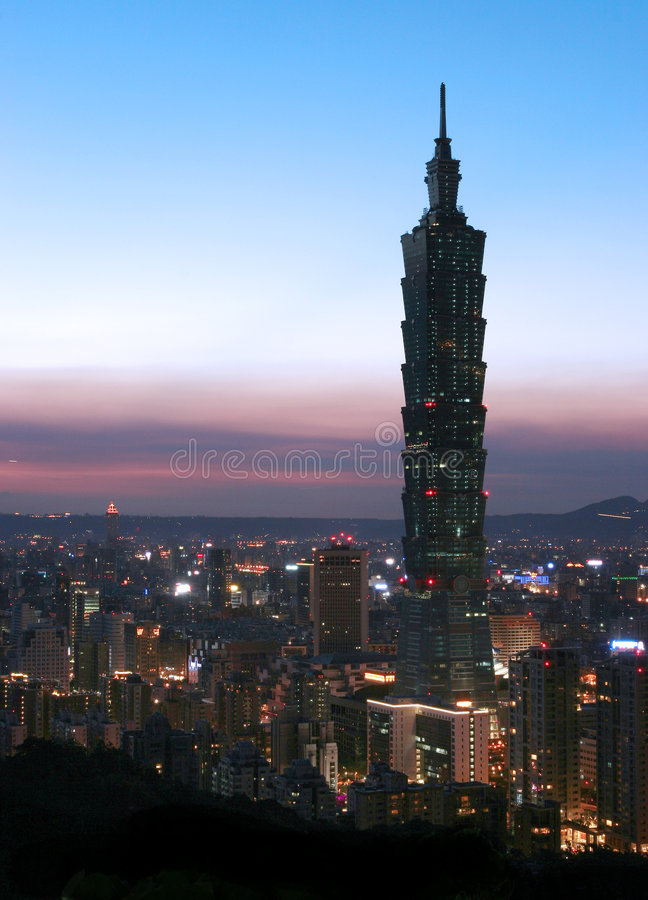 Skyline at night in Taipei royalty free stock images