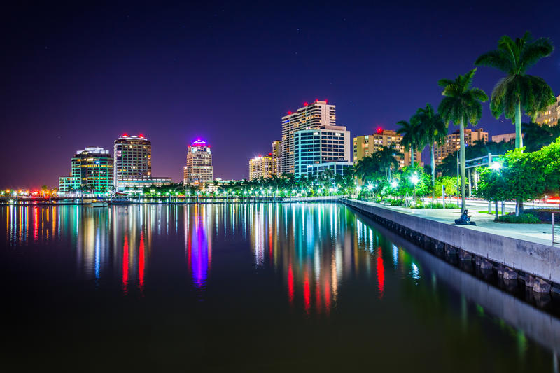 The skyline at night in West Palm Beach, Florida. royalty free stock image