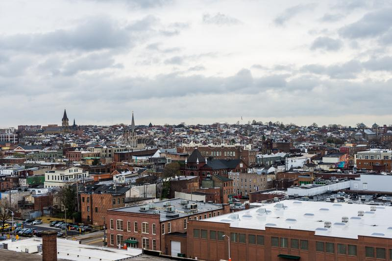 Skyline of north fells point and patterson park in baltimore mar. Yland stock image