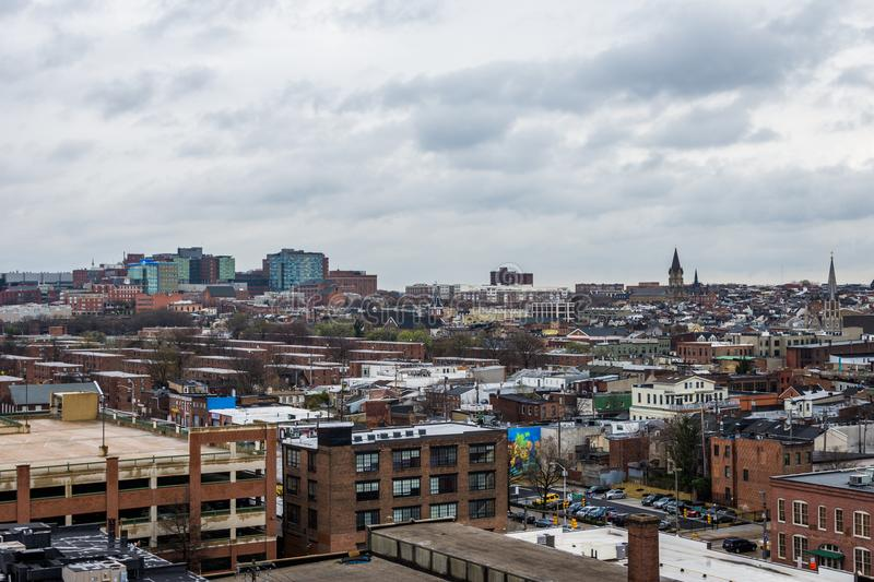 Skyline of north fells point and patterson park in baltimore mar. Yland stock photography