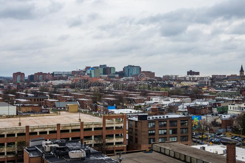 Skyline of north fells point and patterson park in baltimore mar. Yland stock images