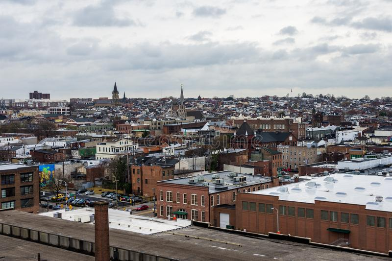Skyline of north fells point and patterson park in baltimore mar. Yland stock photo