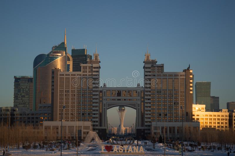 Skyline of Nur-Sultan, Kazakhstan during Golden Hour.  royalty free stock image