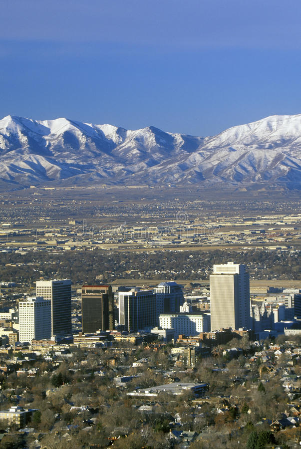 Free Skyline Of Salt Lake City, UT With Snow Capped Wasatch Mountains In Background Stock Photo - 52273020