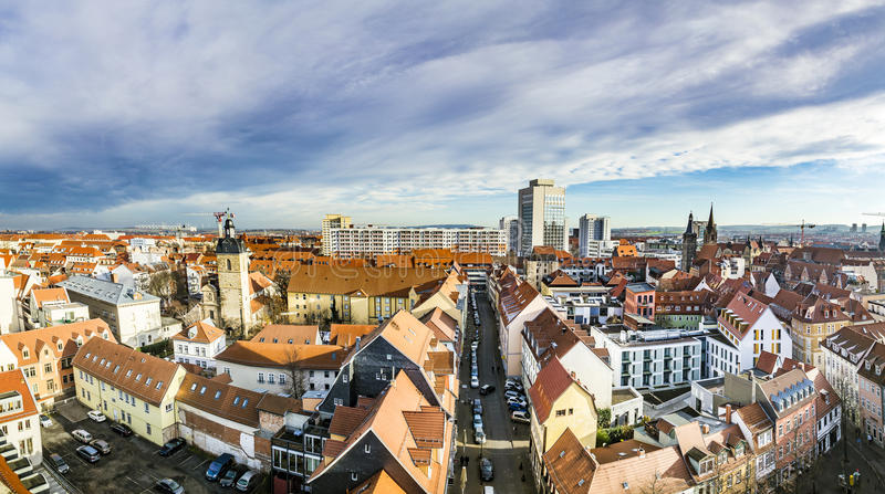 Skyline of old town of Erfurt, Germany. ERFURT, GERMANY - DEC 20, 2015: skyline of old town of Erfurt, Germany. Erfurt facade of old socialist buildings are royalty free stock images