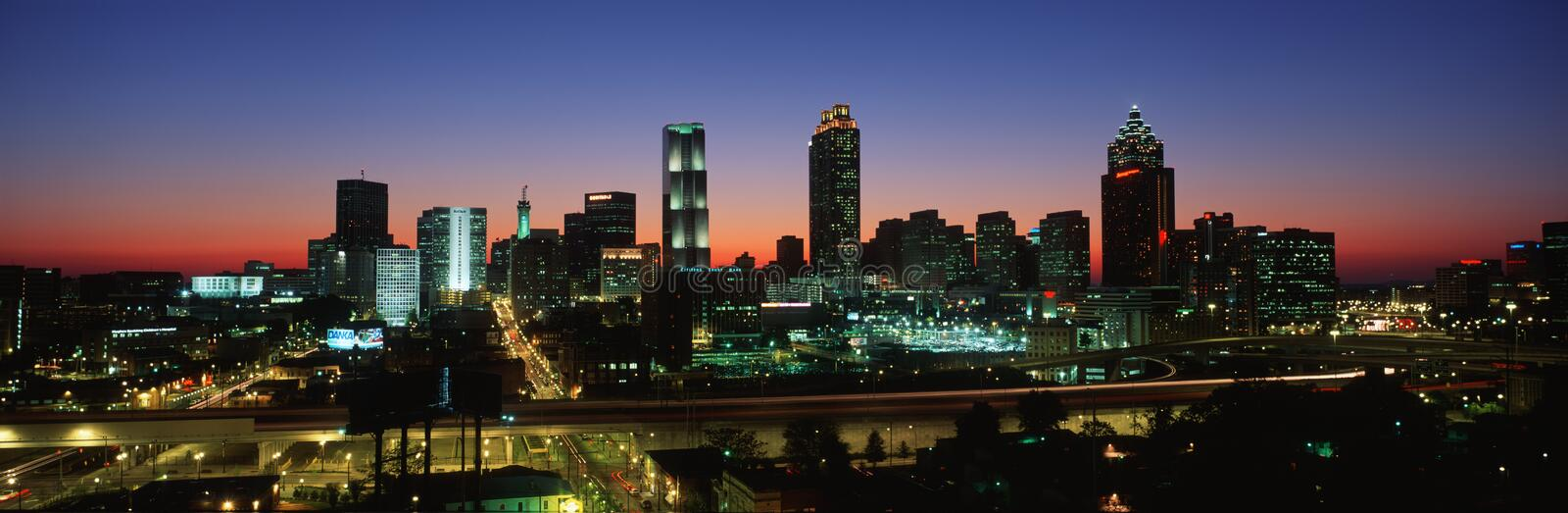 This is the skyline after the 1996 Olympics. It is the view at dusk. stock image
