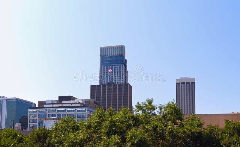 Skyline of Omaha. Nebraska. Seen during sunny morning stock image