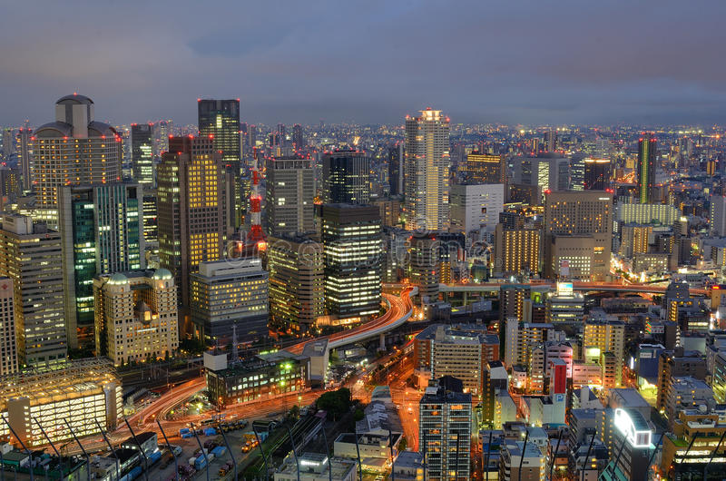Download Skyline of Osaka Japan editorial stock photo. Image of skyscrapers - 20806363