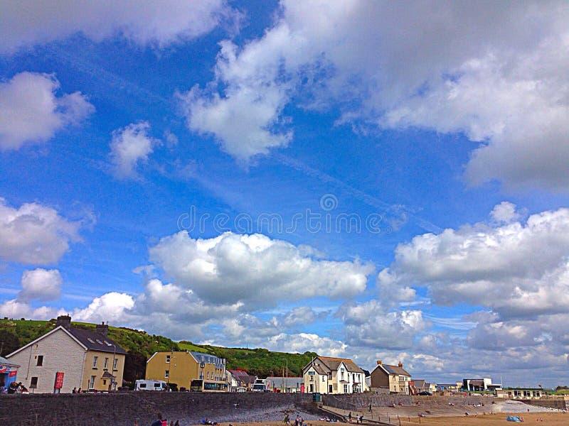 Skyline over pendine stock photo
