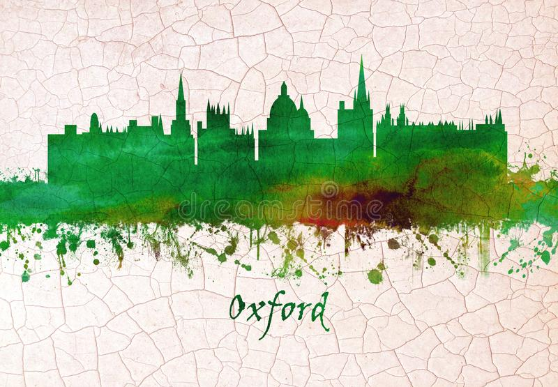 Oxford England skyline. Skyline of Oxford, a city in central southern England, revolves around its prestigious university, established in the 12th century royalty free illustration