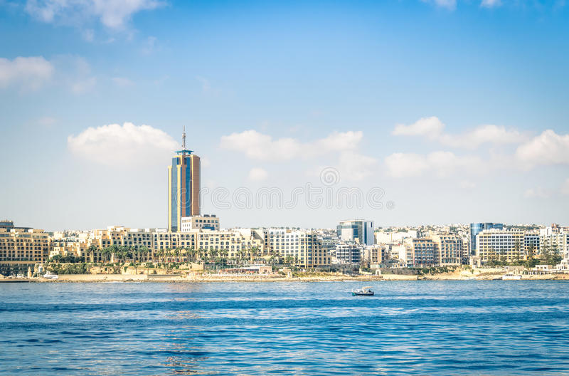 Skyline of Paceville at St Julians - Malta island royalty free stock photography