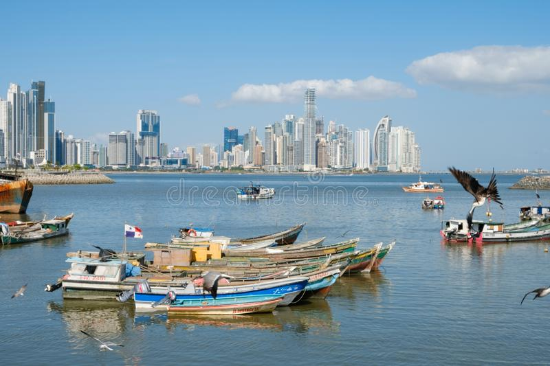 Skyline of Panama City - modern skyscraper buildings in downtown stock images