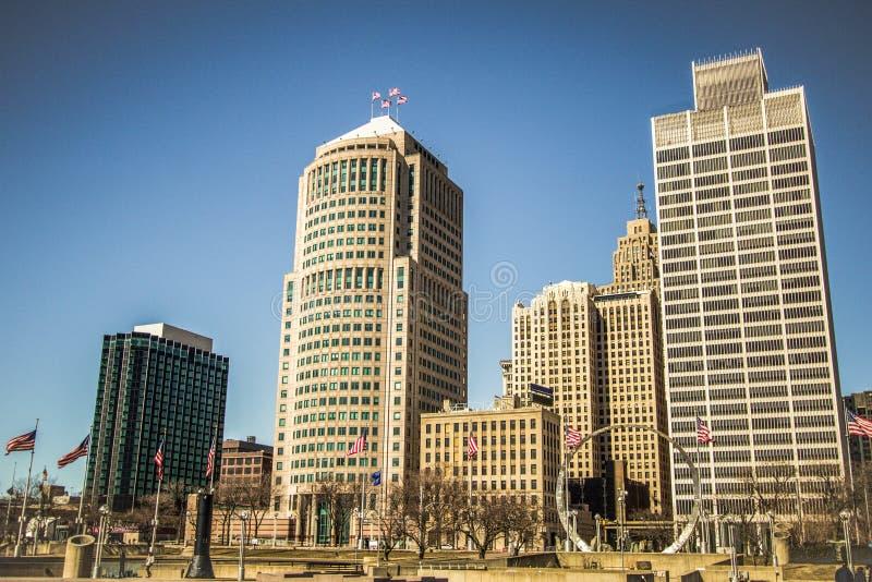 Skyline panorâmico do centro de Detroit Michigan fotos de stock royalty free