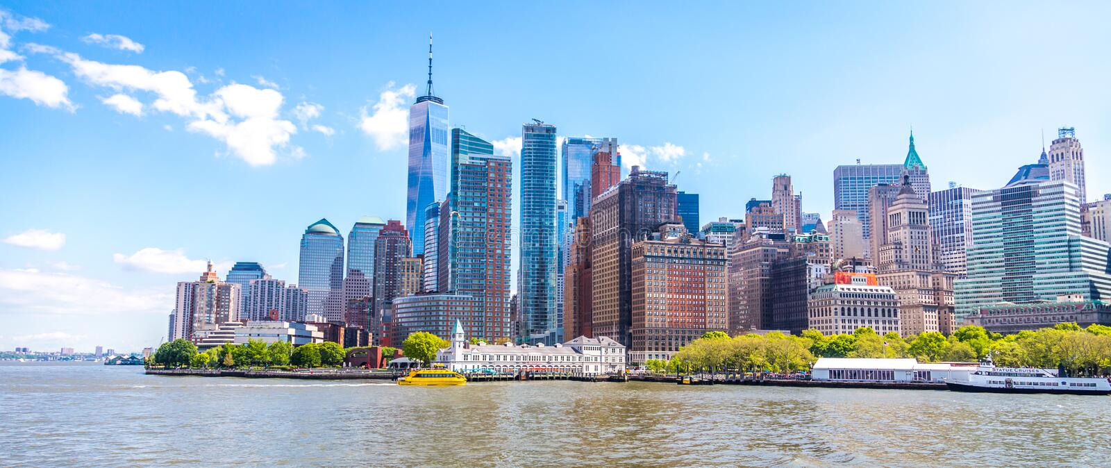 Skyline panorama of downtown Financial District and the Lower Manhattan in New York City, USA stock photos