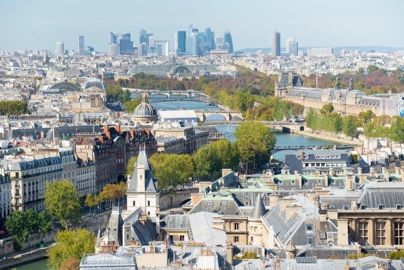 Skyline of Paris city towards La Defense district, France stock images
