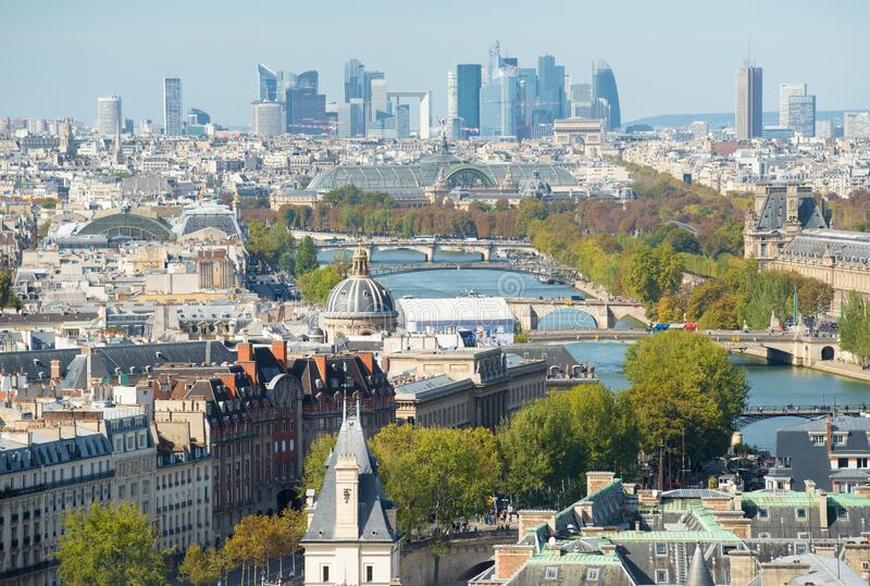 Skyline of Paris city towards La Defense district, France royalty free stock images