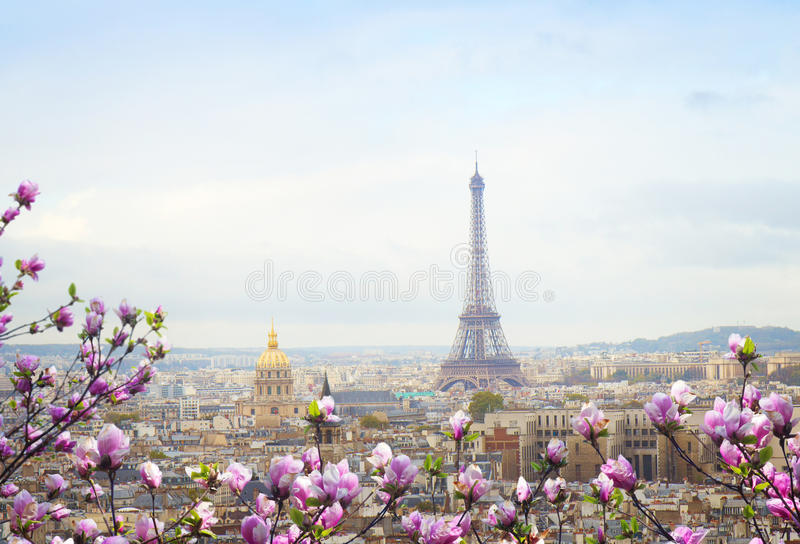 Skyline of Paris with eiffel tower stock photo