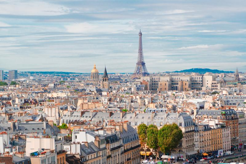 Skyline of Paris with eiffel tower royalty free stock photography