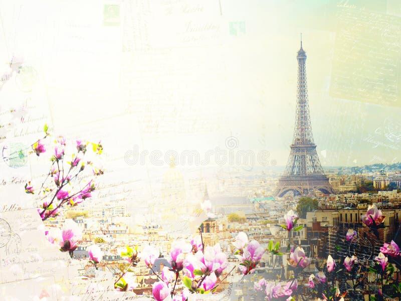 Skyline of Paris with eiffel tower royalty free stock photos