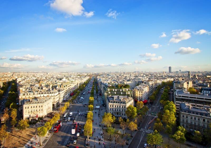 Skyline of Paris from place de l'Étoile, France stock images
