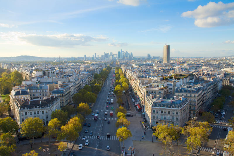 Skyline of Paris from place de letoile, France stock photo