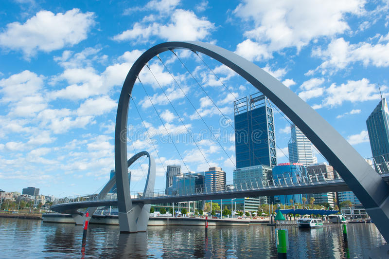 Skyline Perth Western Australia from Elizabeth Quay royalty free stock photography