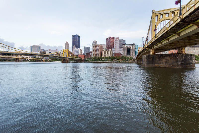 Skyline of Pittsburgh, Pennsylvania fron Allegheny Landing across the Allegheny River royalty free stock image