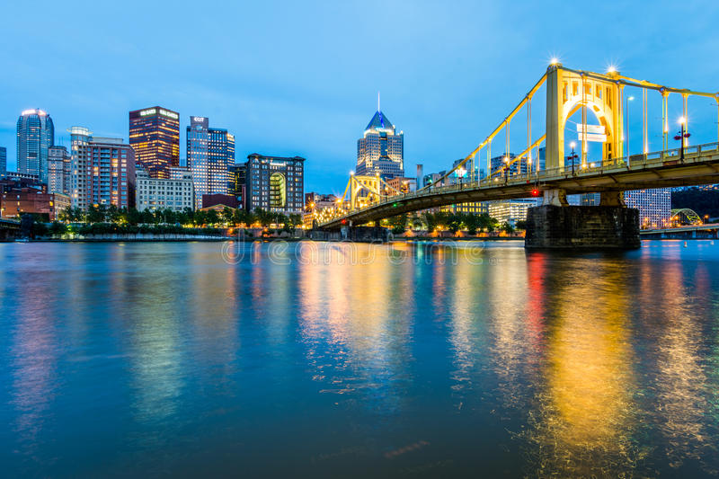 Skyline of Pittsburgh, Pennsylvania fron Allegheny Landing across the Allegheny River royalty free stock images