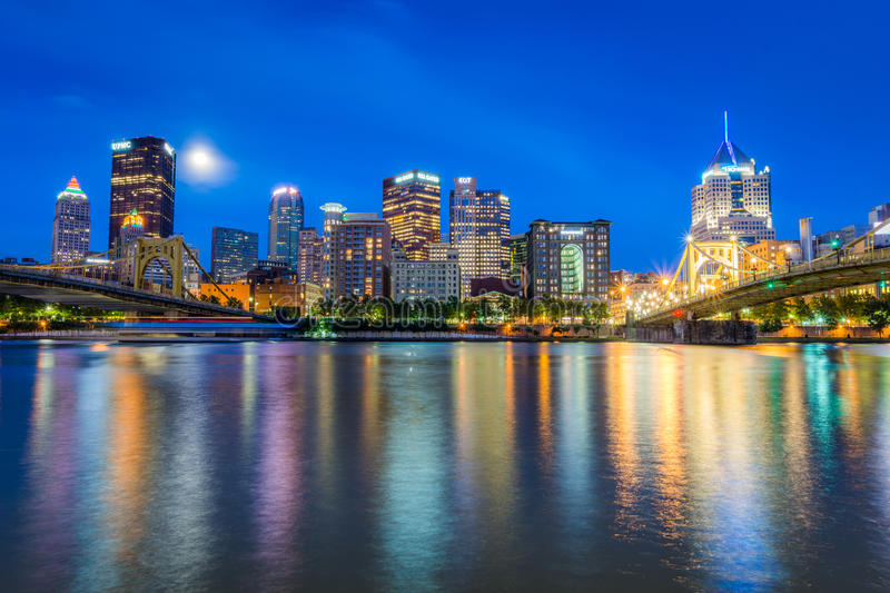 Skyline of Pittsburgh, Pennsylvania fron Allegheny Landing across the Allegheny River stock image