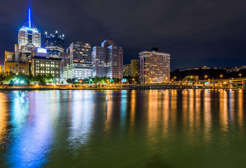 Skyline of Pittsburgh, Pennsylvania fron Allegheny Landing across the Allegheny River royalty free stock photo
