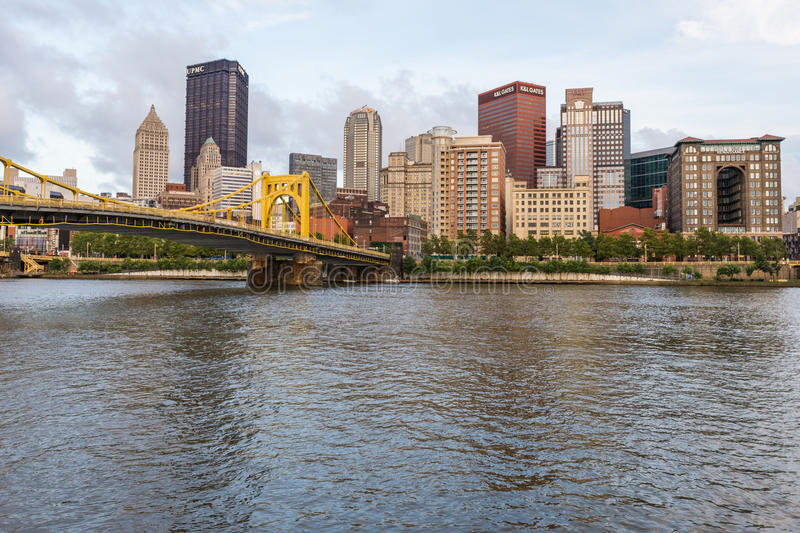 Skyline of Pittsburgh, Pennsylvania fron Allegheny Landing across the Allegheny River.  stock photography