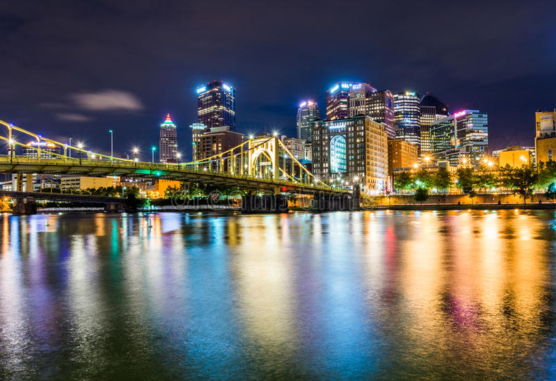 Skyline of Pittsburgh, Pennsylvania fron Allegheny Landing across the Allegheny River stock photos
