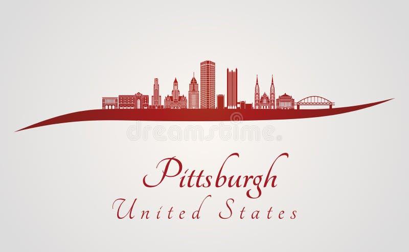 Skyline Pittsburghs V2 im Rot lizenzfreie abbildung