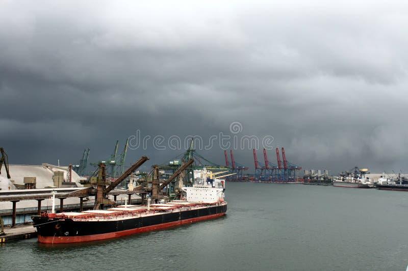 Skyline of Port of Santos royalty free stock photos