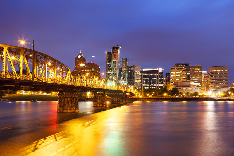 Skyline of Portland, Oregon at night royalty free stock photography