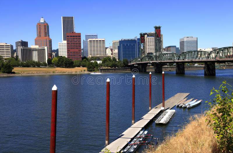 Skyline of Portland OR. & waterfront marina. royalty free stock images