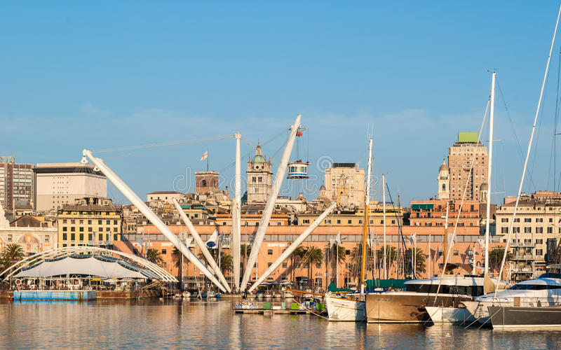 Skyline of the Porto Antico of Genoa stock photography