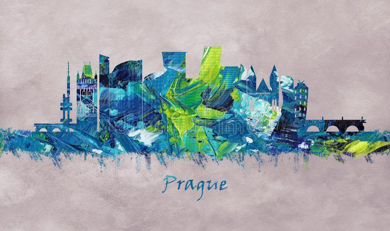 Prague Capital of the Czech Republic, skyline royalty free illustration